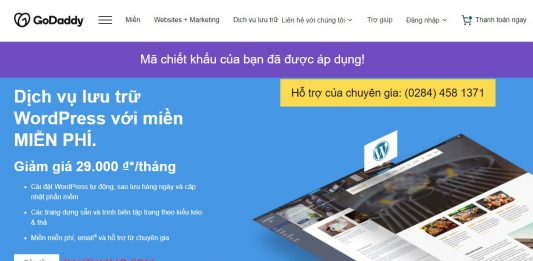 Godaddy Wordpress Hosting chỉ 23k một tháng, miễn phí tên miền