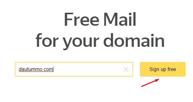 bước 3 nhập domain và bấm sign up free
