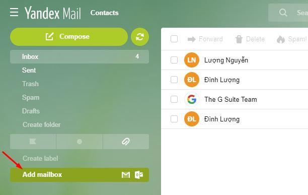 cách forward yandex mail về gmail 1