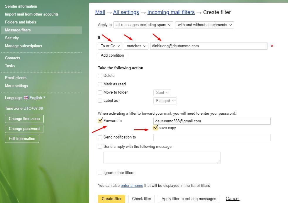 forward mail yandex về gmail 3