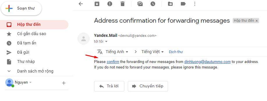 forward mail yandex về gmail 4