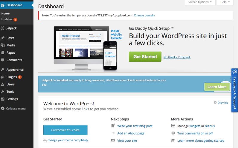 huong dan su dung godaddy wordpress managed hosting 4