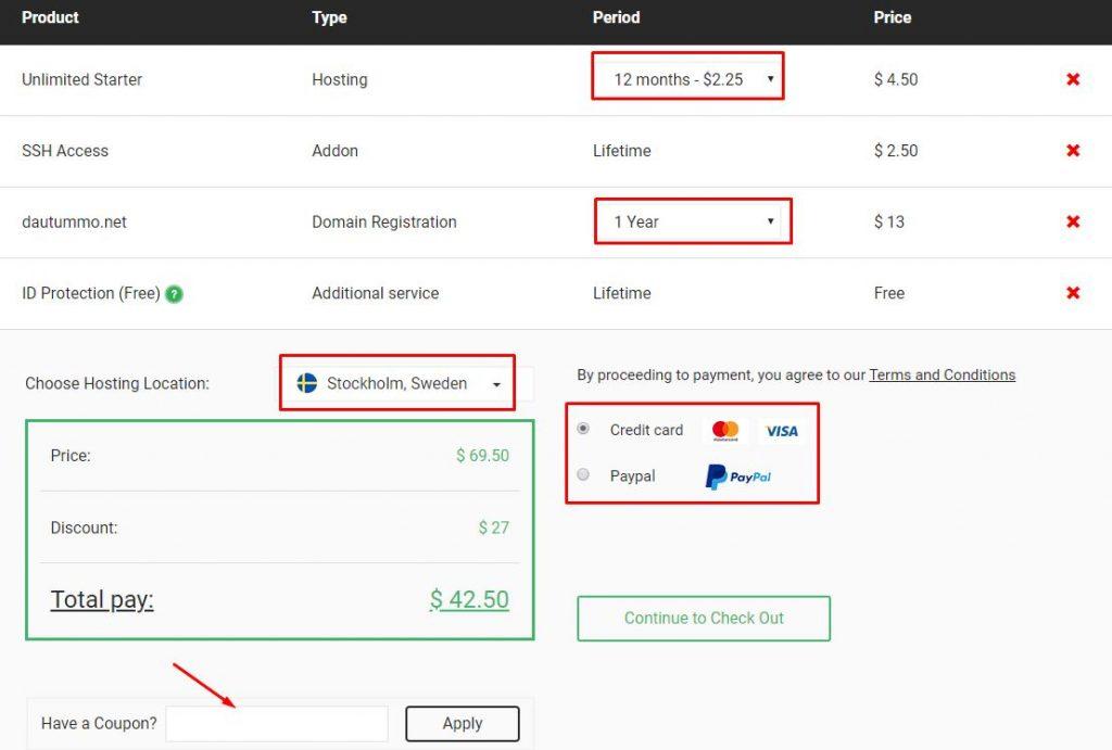 nhập coupon giảm giá hosting stablehost và chọn location