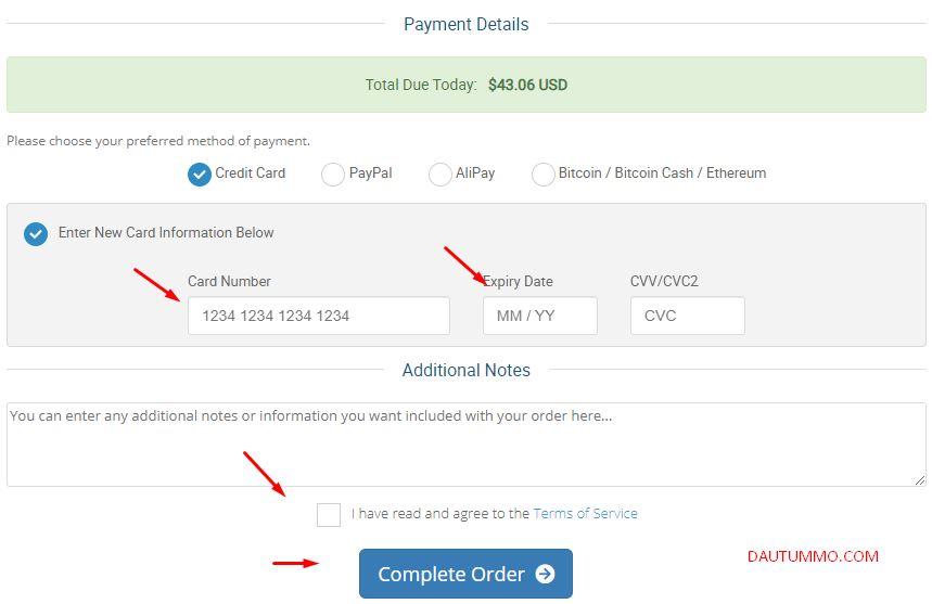nhập thông tin thanh toán hosting hawkhost