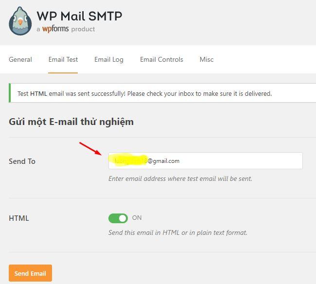 test gửi mail