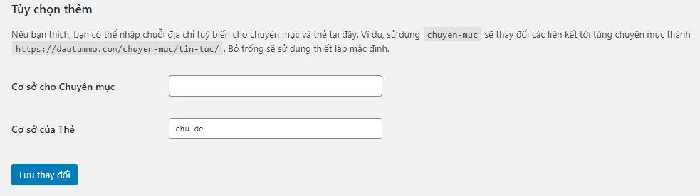 cài đặt tùy chọn url cho chuyên mục hoặc trang tag wordpress