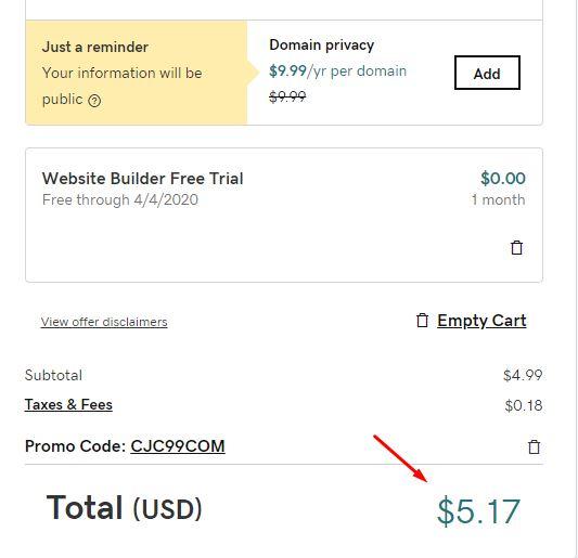 giá mới sau khi áp dụng thành công mã giảm giá
