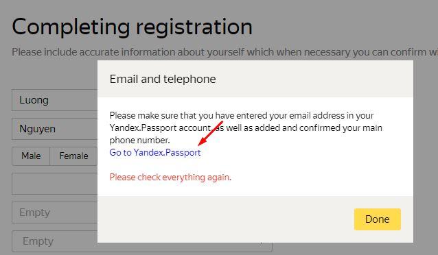 xác nhận số điện thoại Yandex Toloka
