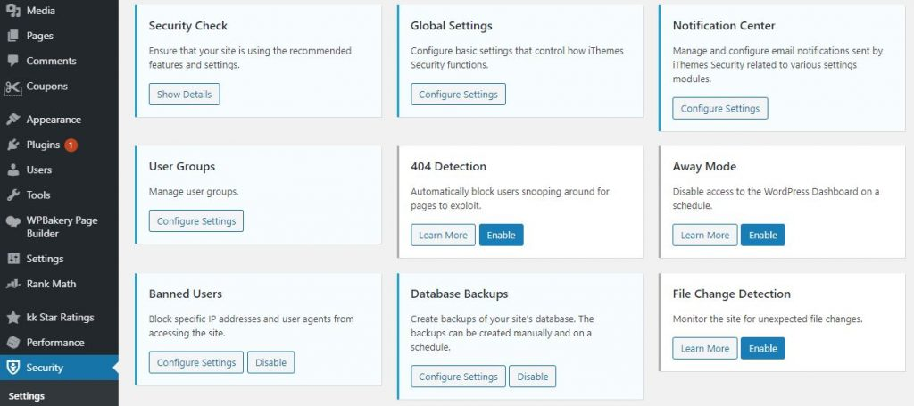 dashboard ithemes security cai dat 1