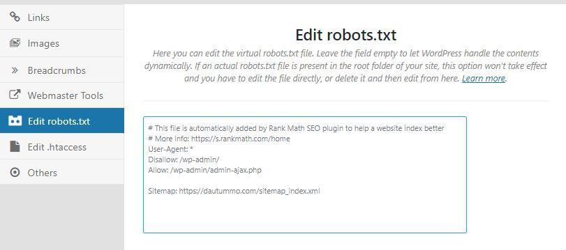 edit file robots on rank math seo