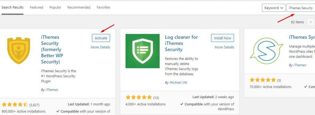 tải và cài đặt plugin ithemes security