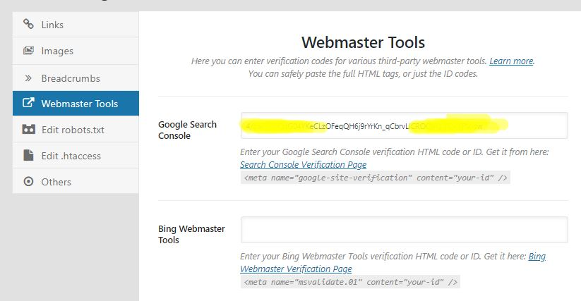 webmaster tool seting rank math seo 1