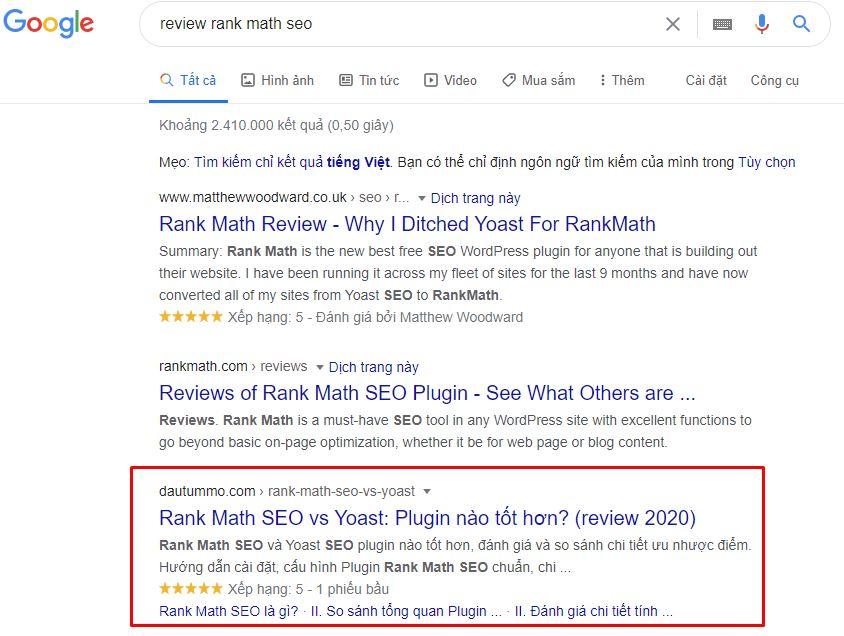 ví dụ về hiển thị ratings trên google của dautummo 1