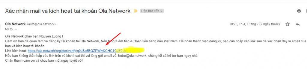 xác nhận tài khoản ola network