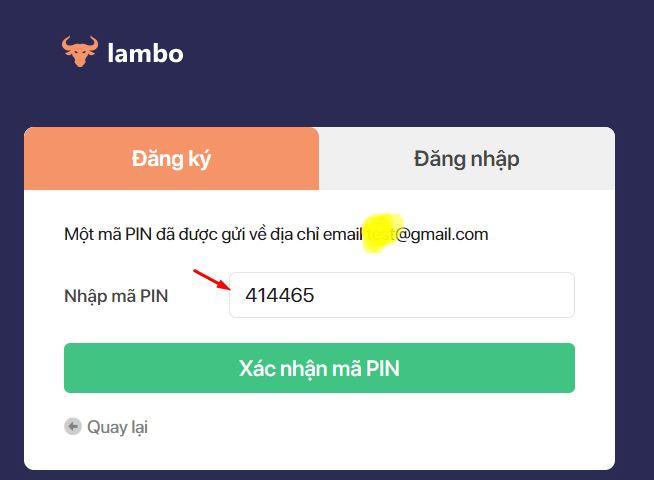 nhập mã pin lambo để xác nhận đăng ký tài khoản 1