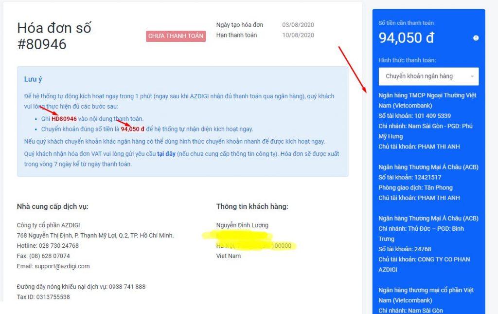 thanh toán tiền hosting tại azdigi 1