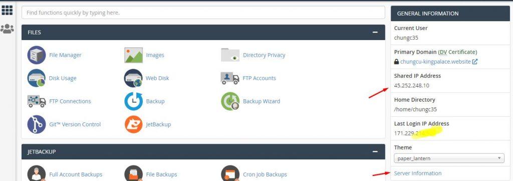 xem ip hosting tren cpanel